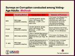 surveys on corruption conducted among voting age adults methods