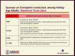 surveys on corruption conducted among voting age adults statistical tools used