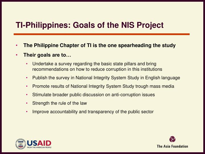 TI-Philippines: Goals of the NIS Project
