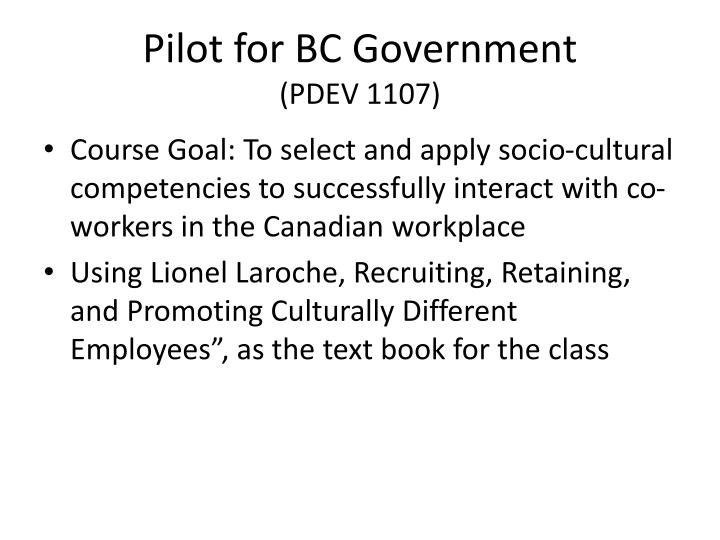 Pilot for BC Government