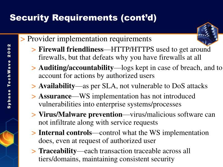 Security Requirements (cont'd)