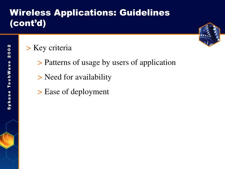 Wireless Applications: Guidelines (cont'd)