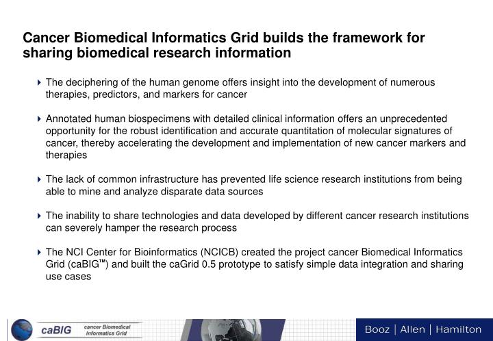Cancer Biomedical Informatics Grid builds the framework for sharing biomedical research information