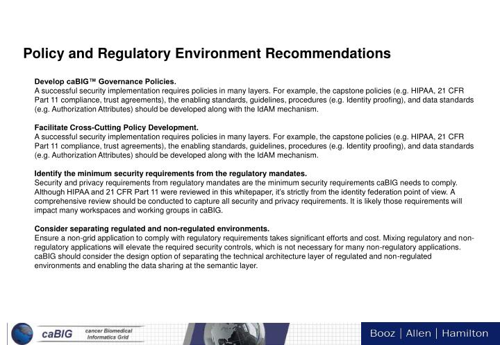Policy and Regulatory Environment Recommendations