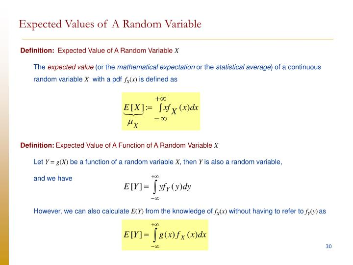 Expected Values of A Random Variable