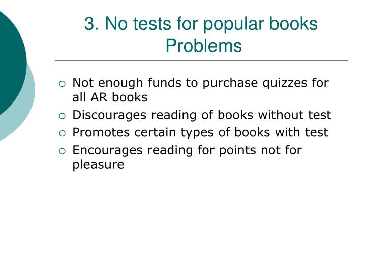 3. No tests for popular books