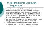 9 integration into curriculum suggestions