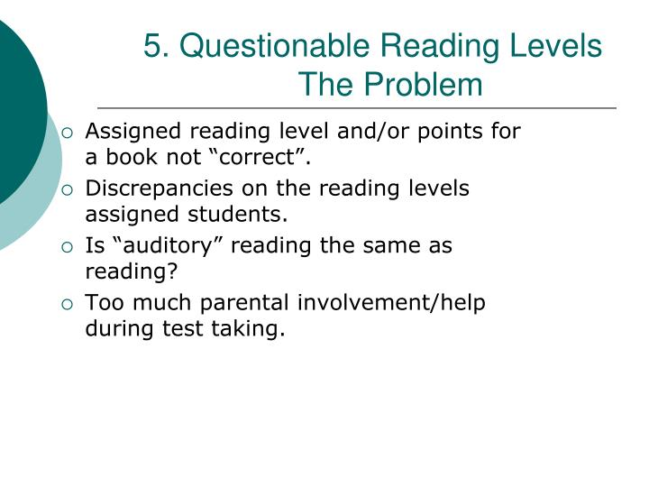 5. Questionable Reading Levels