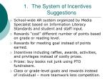 the system of incentives suggestions