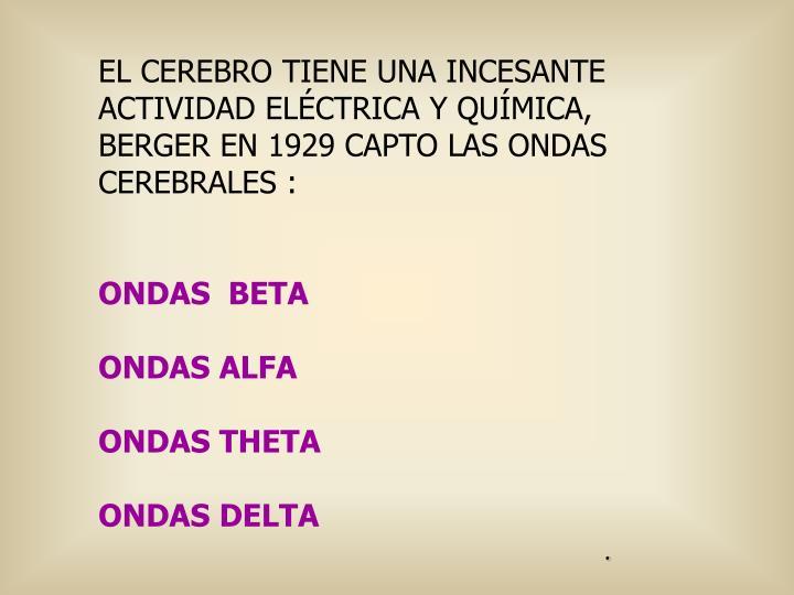 EL CEREBRO TIENE UNA INCESANTE  ACTIVIDAD ELÉCTRICA Y QUÍMICA,
