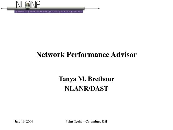 Network performance advisor