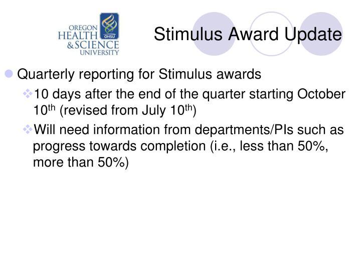 Stimulus Award Update