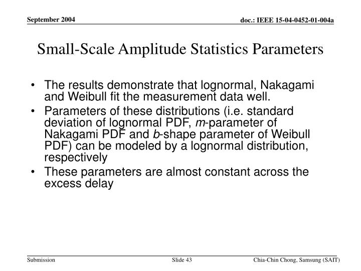 Small-Scale Amplitude Statistics Parameters