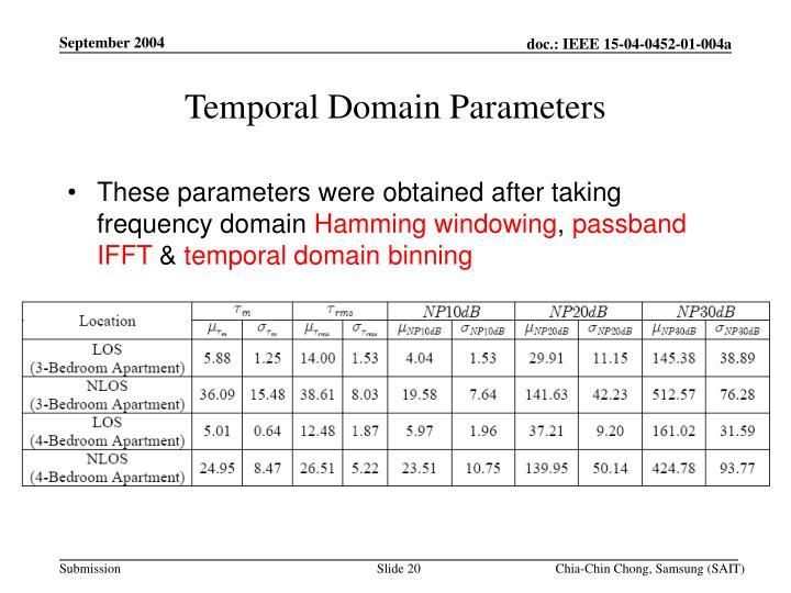 Temporal Domain Parameters