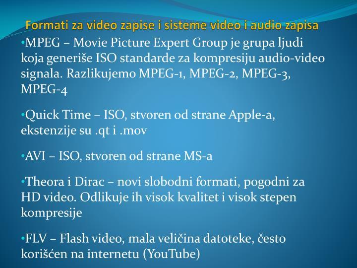 Formati za video zapise i sisteme video i audio zapisa