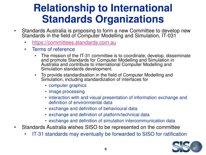 Relationship to International Standards Organizations