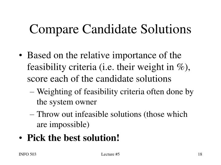 Compare Candidate Solutions