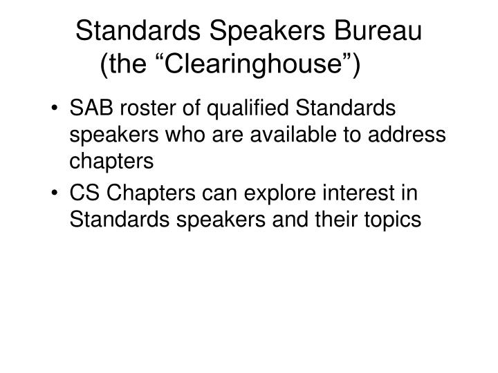 Standards Speakers Bureau
