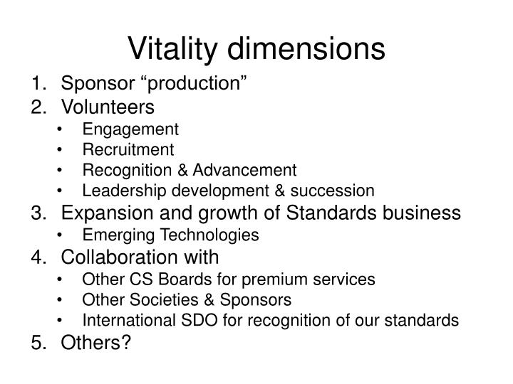 Vitality dimensions