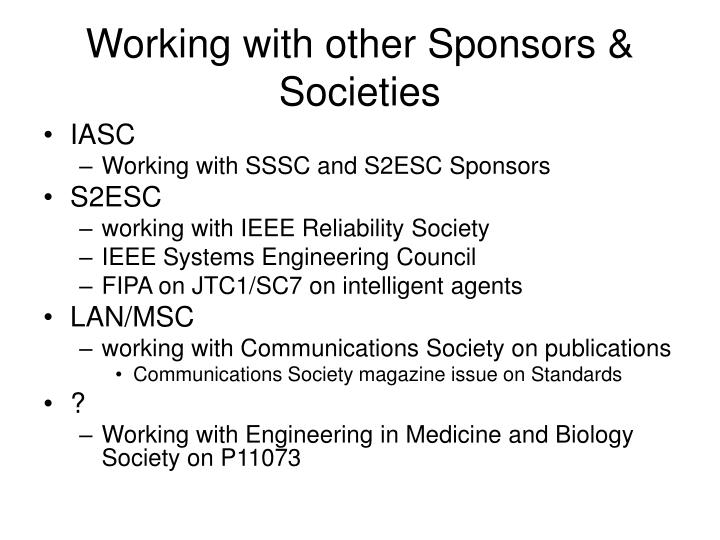 Working with other Sponsors & Societies