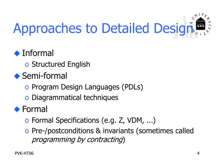 Approaches to Detailed Design