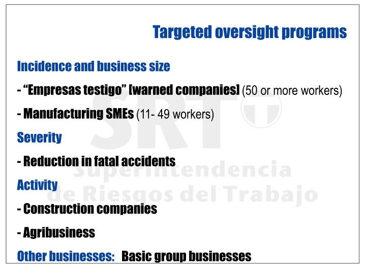 Targeted oversight programs