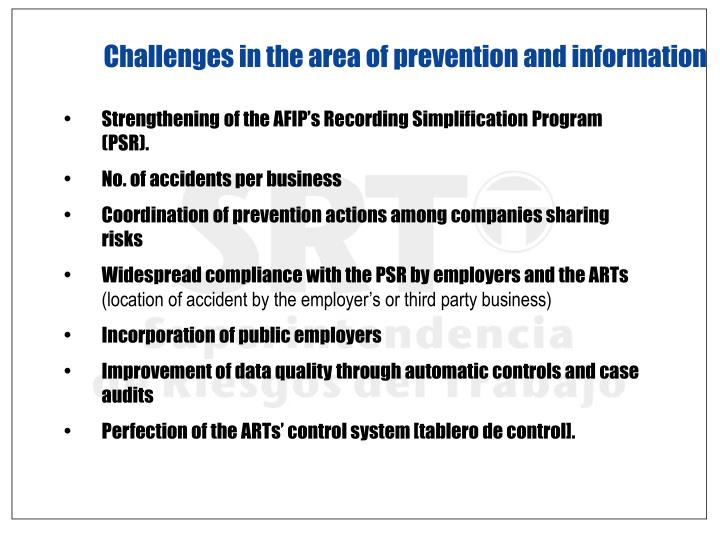 Challenges in the area of prevention and information