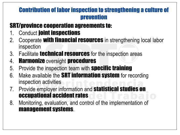 Contribution of labor inspection to strengthening a culture of prevention
