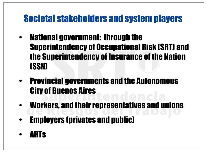 Societal stakeholders and system players