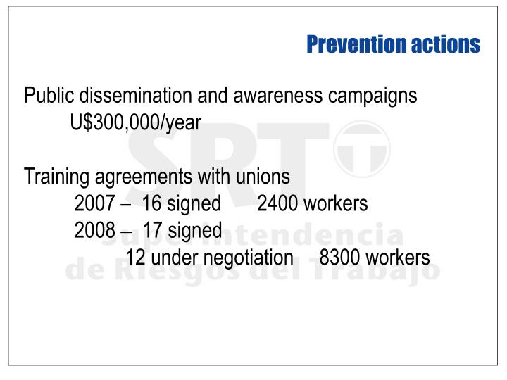 Prevention actions