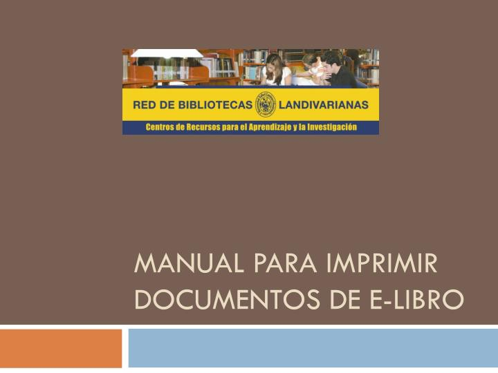 Manual para imprimir documentos de e libro