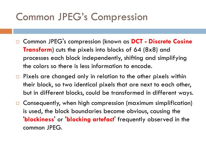 Common JPEG's Compression