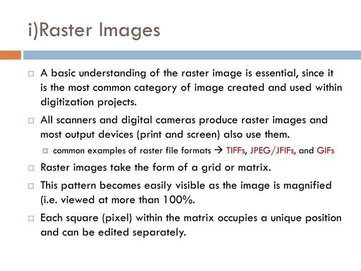 i)Raster Images