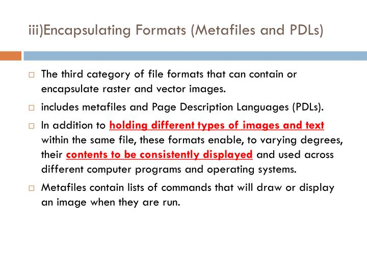 iii)Encapsulating Formats (Metafiles