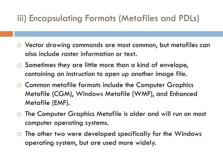 iii) Encapsulating Formats (Metafiles