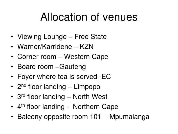 Allocation of venues