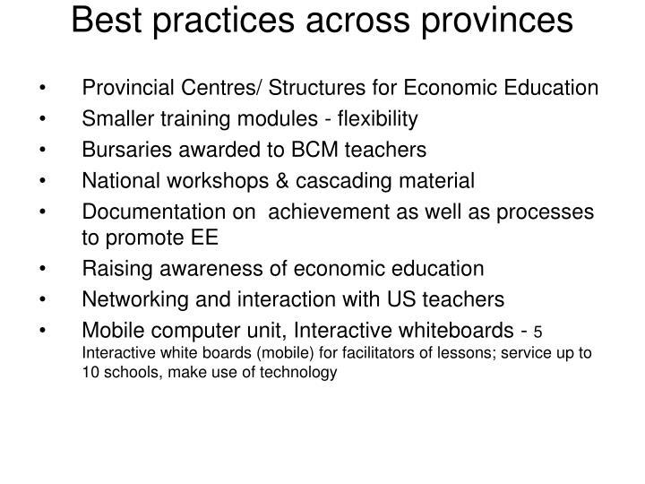 Best practices across provinces