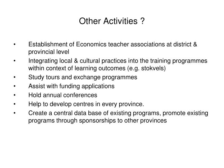 Other Activities ?
