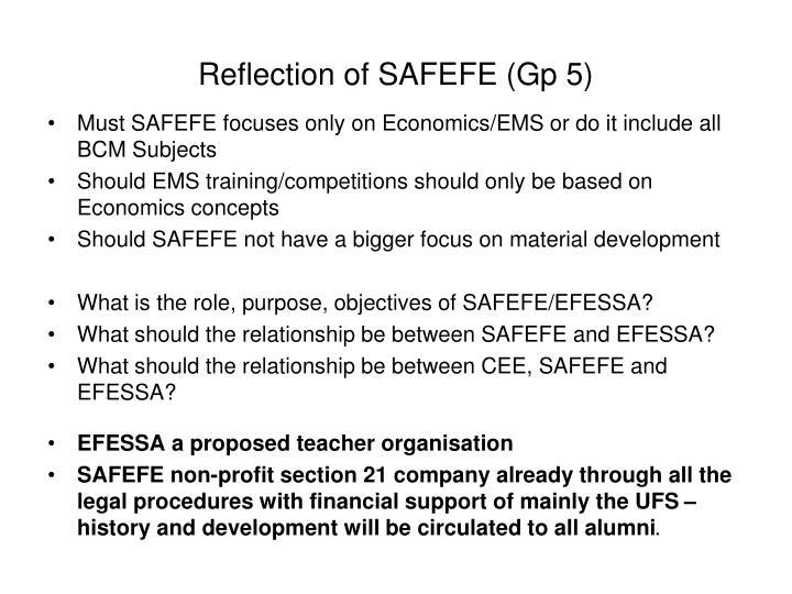 Reflection of SAFEFE (Gp 5)