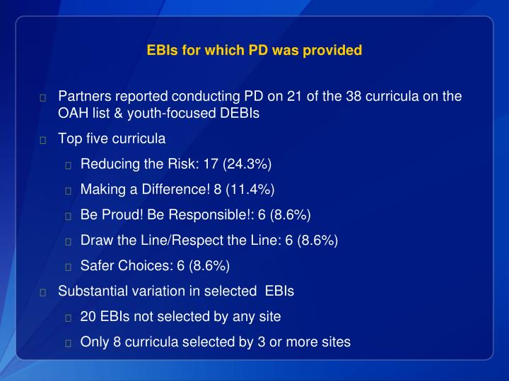 EBIs for which PD was provided
