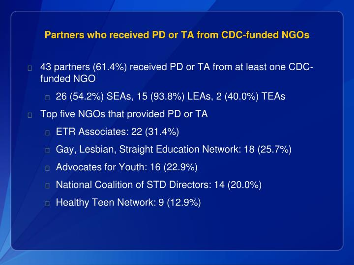 Partners who received PD or TA from CDC-funded NGOs