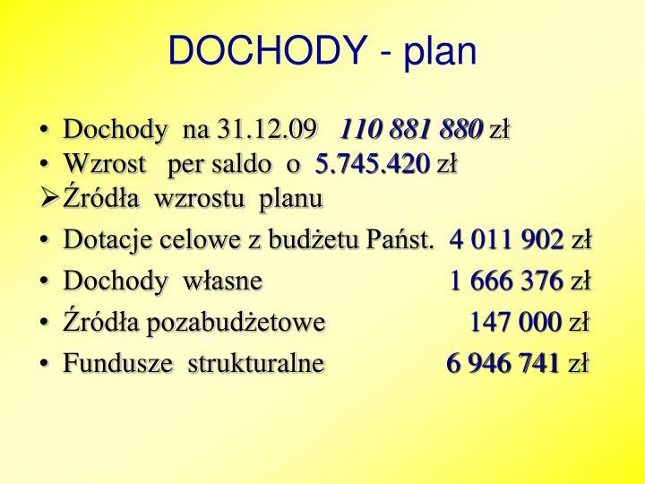 DOCHODY - plan