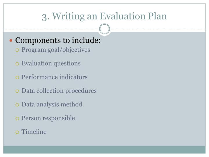3. Writing an Evaluation Plan