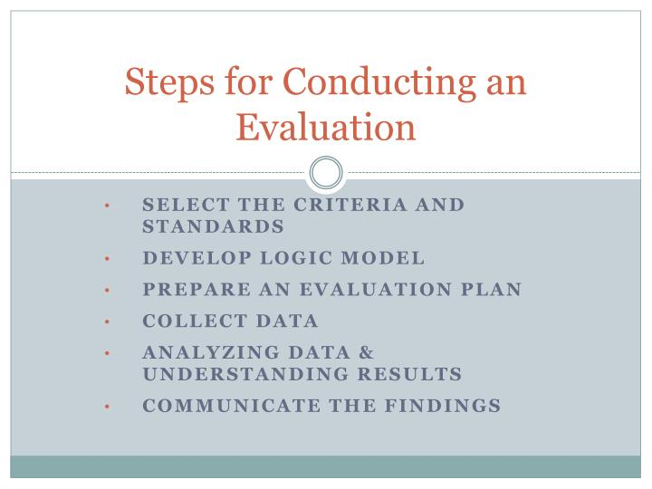 Steps for Conducting an Evaluation