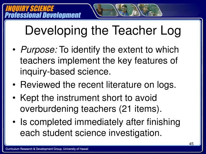 Developing the Teacher Log