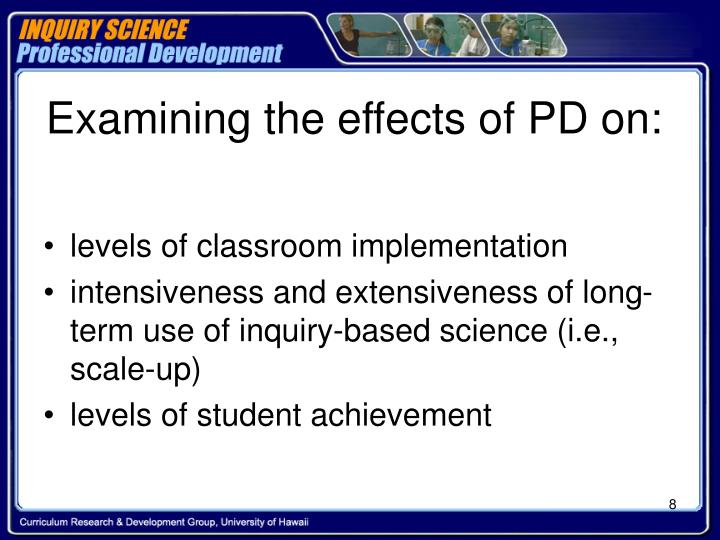 Examining the effects of PD on: