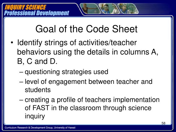Goal of the Code Sheet
