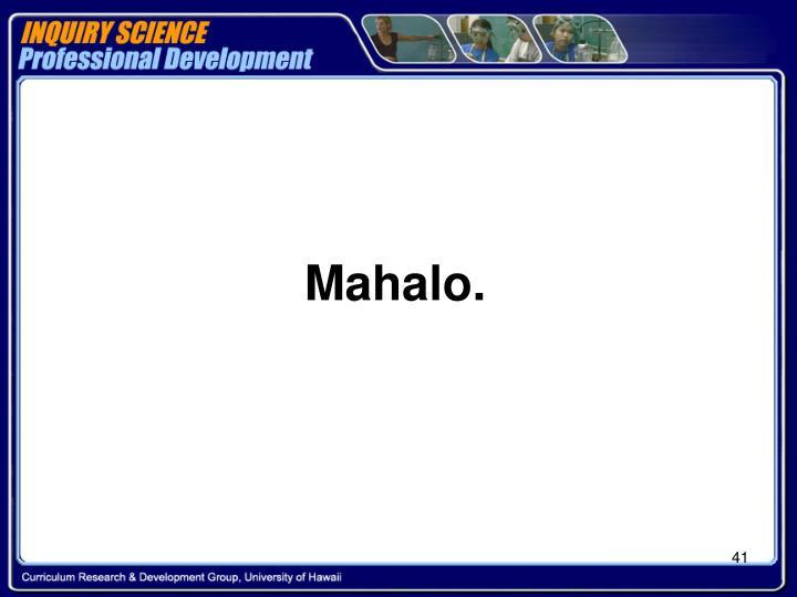 Mahalo.
