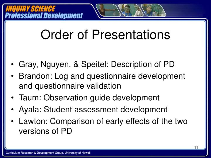Order of Presentations