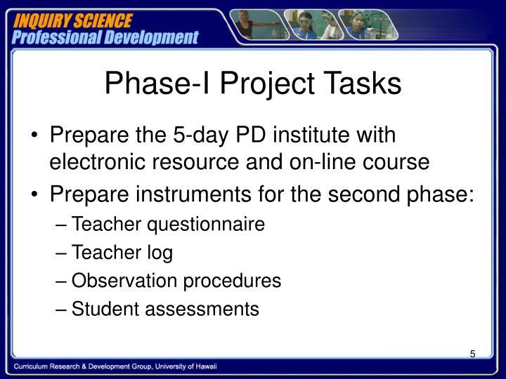 Phase-I Project Tasks